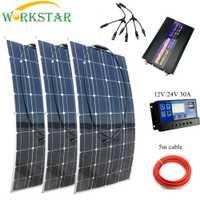 WORKSTAR 20 V 100 W paneles solares flexibles 12 V 12 V Cargador Solar para RV/barco coche Solar de 300 w sistema para principiantes al aire libre Cargador Solar