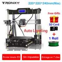 Tronxy 3D DIY Kit de impresora de alta precisión de la zona de impresión 220*220*240mm de nivelación automática 3D kit de impresora impresora 3d climatizada cama extrusora
