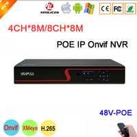 8MP/5mp/4mp/3mp/2mp/1mp cámara IP del Panel rojo Hi3536C vmeyesuper de 4K 4CH /8CH 8MP H.265 48V POE IP Onvif Cámara del CCTV NVR envío gratis