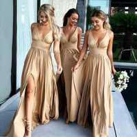 2019 Sexy vestidos largos de dama de Honor cuello profundo Empire Split lateral de seda elástica como satén playa Boho dama de Honor damas de Honor vestidos
