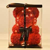 Dropshipping 40 cm Oso de rosas con LED caja de regalo oso de peluche rosa de jabón de La Flor de espuma Artificial regalos de Año Nuevo para las mujeres de San Valentín