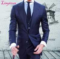 Linyixun hecho a medida de alta calidad worsted marca super120 traje azul hombres boda esmoquin slim fit mejor traje de hombre