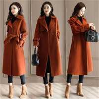 Abrigo de invierno 2018 para mujer con solapa ancha, bolsillo, mezcla de lana, abrigo largo y verde, abrigo de lana para mujer