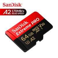 Tarjeta de memoria SanDisk Extreme Pro microSDXC tarjeta micro SD 64 GB UHS-I C10 U3 V30 A2 170 MB/S TF tarjeta para 4 K Ultra HD y Full HD