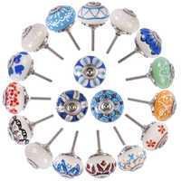 18 piezas manija de cerámica pintado a mano impresión cerámica puerta gabinete cajón perilla Tiradores para Cabinetsvariety estilo Venta caliente