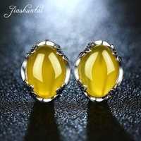 Pendientes de Calcedonia de plata de ley JIASHUNTAI 925, piedras preciosas de ágata amarilla Vintage para mujer, pendientes de plata tailandesa, joyería fina