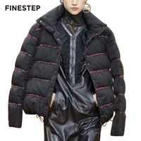 Chaqueta de invierno de Mujeres de manga larga chaqueta de invierno de las mujeres cálido abrigo corto negro con cuello alto Collar