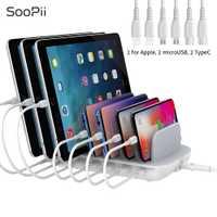 SooPii QC3.0 y PD cargador de escritorio de carga rápida 7 puertos estación de carga para varios dispositivos con 7 Cables cortos