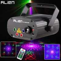 ALIEN Remote 128 patrones RGB DJ láser proyector escenario efecto de iluminación discoteca fiesta de Navidad vacaciones Luz de espectáculo con 3 W LED azul