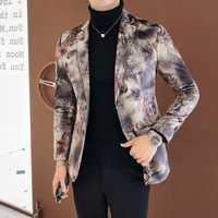 Traje de flores de alta calidad chaquetas hombres negocios Casual hombres Blazer abrigo S M L XL 2XL 3XL hombres