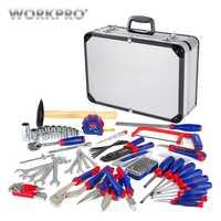 WORKPRO 119 Unid conjunto de caja de aluminio casa Kits de herramienta de reparación de herramienta de herramientas de mano