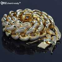 Collar de eslabones de circonia cubana de 28mm para hombre, Gargantilla de eslabones de circonia cúbica, joyería de cadena de Hip hop de plata y oro, cadena de CZ de 26 pulgadas