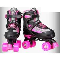 Los niños adultos doble línea Quad paralelo patines zapatos botas PU 4 ruedas a prueba de golpes a prueba con freno estable ajustable