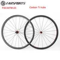 Farsports 700C carbono Ti centros bicicleta ruedas super luz 1078 g/set 30mm x 23mm tubular ruedas de bicicleta de carretera de Sapim radios aero