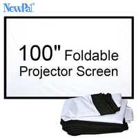 NewPal 100 pulgadas Pantalla de proyector 4:3/16:9 plegable pantalla proyector para fuera de la casa de cine películas