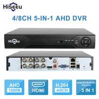 Hiseeu 4CH 960 P 8CH 1080 P 5 en 1 DVR grabadora de vídeo para AHD cámara analógica Cámara cámara IP p2P cctv sistema DVR H.264 VGA HDMI