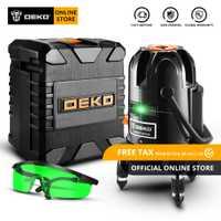 Original nueva llegada 2019 DEKO DKLL501-nivelación 5 Línea 6 puntos Horizontal y Vertical verde nivel láser 360 grado de ajuste