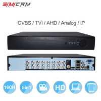 Grabadora de Video DVR 16CH CCTV grabadora 5in1 para CVBS TVI AHD analógica cámaras IP H.264 VGA HDMI Dual disco duro poco App