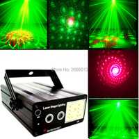 300 MW láser RG + LED estroboscópica blanca etapa iluminación 48 patrones Mini proyector láser efecto mostrar KTV fiesta de discoteca DJ luces de Navidad