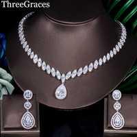 ThreeGraces Europea joyería nupcial Zirconia cúbica grande de agua pendientes y collar de mujeres para boda JS032