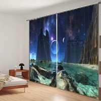 Cortinas de ventana impresas en espacio exterior en 3D de lujo para ropa de cama sala de estar tapiz para el hogar Cortinas decorativas Cortinas