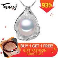FENASY encanto diseño de concha de perla colgante de collar de plata esterlina 925 joyería collares de moda para las mujeres 2018 nuevo