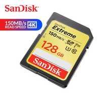 Tarjeta de memoria SanDisk Extreme SDXC tarjeta SD de 128 GB C10 U3 V30 150 MB/S velocidad de lectura UHS-I Flash para cámara (SDSDXV5-128G-ZNCIN)