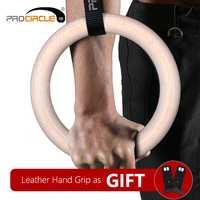 Procircle de madera de gimnasia anillos gimnasio anillos con larga ajustable hebillas de correas de entrenamiento para gimnasio en casa y Cruz Fitness