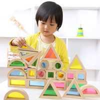Bloques de construcción de arco iris de madera Montessori 24 piezas juguetes para niños 6 formas 4 colores translúcidos Brinquedo Oyuncak Brinquedos