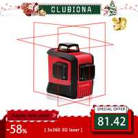 CLUBIONA 3D 360 rotary 12 cruz láser de líneas con inclinación/función vertical y horizontal Super potente receptor bien