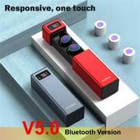 Auriculares inalámbricos TWS Bluetooth V5.0 auriculares estéreo auriculares IPX7 auriculares Bluetooth impermeables con micrófono y caja de carga de pantalla led MX