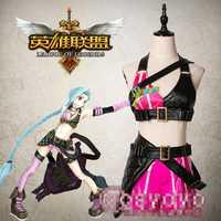 Anime juego caliente LOL CRIT Lolita Jinx original piel personalizable pu corto Cosplay traje uniforme p