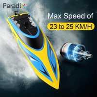 Sistema de refrigeración por agua RC barco Speedboat Super velocidad alta velocidad RC barco 25 km/h carreras 4 canales niños Motor buscador de peces sin escobillas