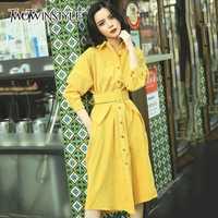 TWOTWINSTYLE Corduroy vestidos para las mujeres linterna manga alta cintura bolsillo Midi Vestido Mujer otoño moda Vintage ropa