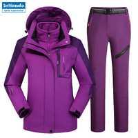 Al aire libre de montaña las mujeres impermeable esquí ropa de esquí trajes de chaqueta de Snowboard chaqueta de esquí traje de gran tamaño nieve chaquetas Plus tamaño