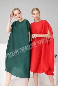 Envío Gratis Miyake moda doble manga corta de moda de cuello sólido asimétrico vestido en STOCK