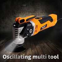 Herramienta renovadora de sierra eléctrica multifunción, recortadora oscilante, herramienta de renovación del hogar, recortadora, herramientas de carpintería, embalaje de caja de Color