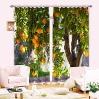 Árboles de naranja 3D foto impresa Cortinas para la cocina habitación de Hotel/Oficina Cortinas decorativas