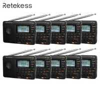 10 piezas Retekess V115 FM/AM/SW Radio con MP3 jugador REC grabadora de voz temporizador