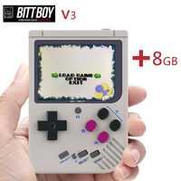 Console de jeu vidéo, BittBoy V3 + 8 GB, console rétro, joueurs de jeu portables, supporte des jeux plus classiques pour les enfants nostalgiques joueur