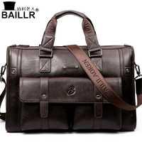 BAILLR marca hombre bolso cuero negro maletín hombres negocios bolso bandolera hombres Vintage hombres bolso de hombro de gran capacidad