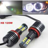 FSYLX 1 Unidades 120 W H8 LED marcador de Ojos de Ángel bombilla para BMW X5 E70 X6 E71 E90 E91 E92 M3 E60 xenón blanco faro drl de Ojos de Ángel lámpara