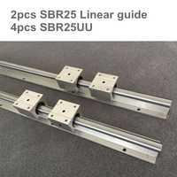 25mm carril lineal de SBR25 600 de 800mm 2 piezas y 4 piezas SBR25UU rodamiento lineal bloques para cnc 25mm guía lineal
