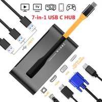 James burro 7 en 1 USB C Thunderbolt 3 Hub portátil Universal Docking Station con HDMI/VGA y gigabit Ethernet para Apple