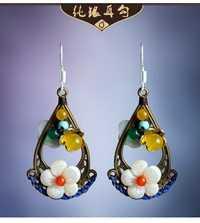 Doble cara retro pendientes original estilo popular joyería del oído clásico Palacio del pendiente de la boda