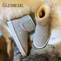 Botas de nieve para mujer zapatos de invierno de botas de tobillo de diamantes de imitación de diamantes de plataforma de zapatos de mujer resbalón en Casual más tamaño de plata de oro DE
