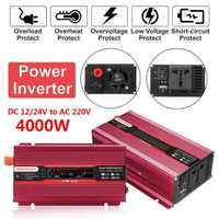 Inversor de la energía Solar del coche de la pantalla LCD de 4000 W DC 12/24 V a CA 110/220 V USB inversor de potencia automático convertidor de onda sinusoidal