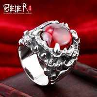 BEIER 925 joyería de plata esterlina 2015 Moda brillante ZIRCON Dragon Claw anillo hombre BR925D0259
