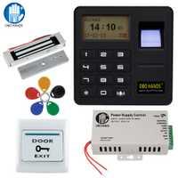 OBO manos rfid biométrico Sistema de control de Acceso de huella digital kit eléctrico magnético/perno/cerradura de golpe para puerta + fuente de alimentación juego completo