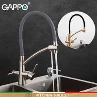 GAPPO robinet de cuisine robinets d'eau de cuisine mélangeur évier robinet filtre robinets robinets mélangeur pont monté purificateur noir évier mélangeurs